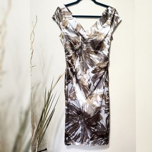Maggy L V Neck Satin Midi Dress